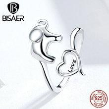 BISAER 100% Plata de Ley 925 amor elefante dedo anillos para mujeres Elefante en el corazón anillos amor Animal joyería Anel ECR585