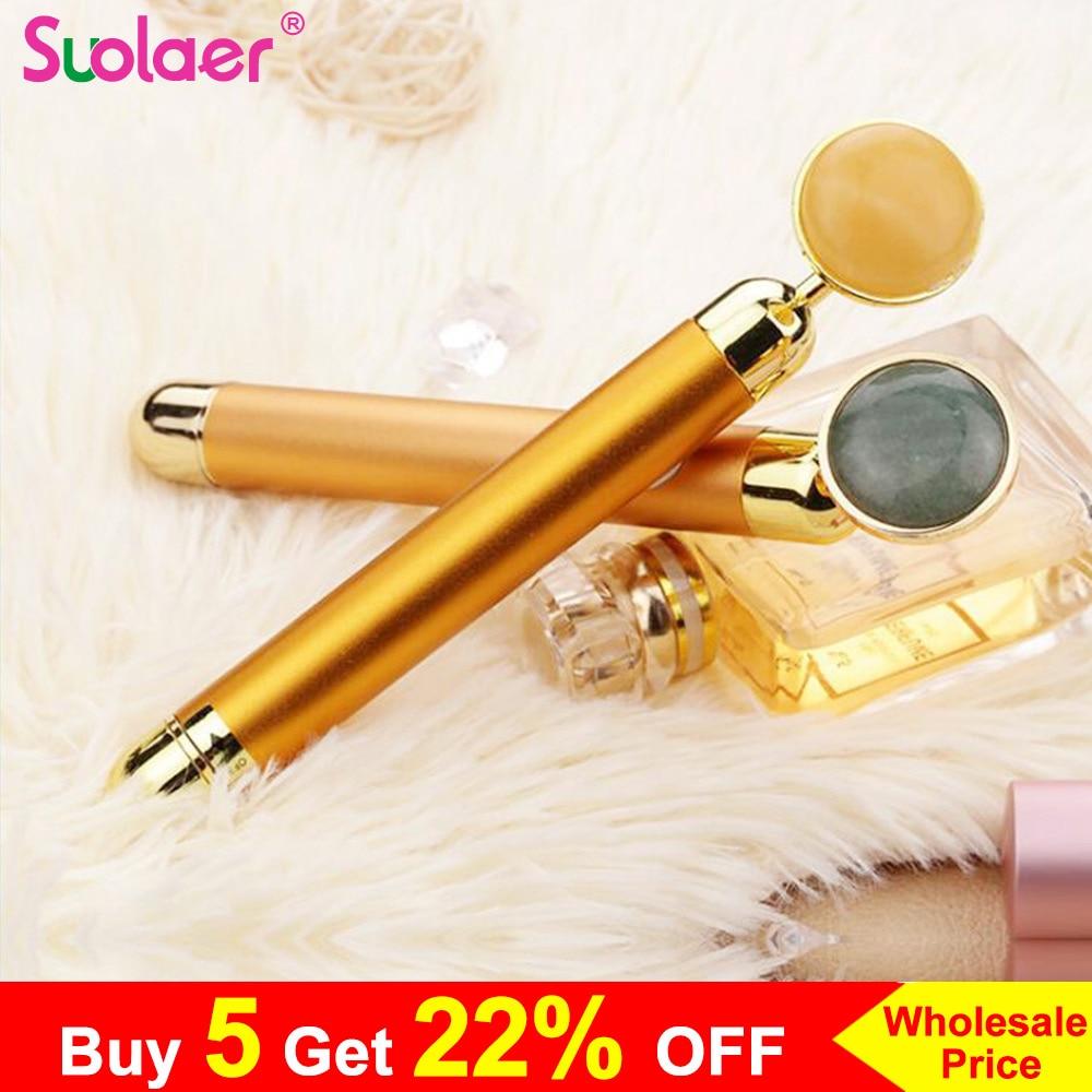 Jade Roller Slimming Face Roller 24k Gold Pink Vibration Facial Beauty Roller Massager Stick Lift Skin Tightening Wrinkle Bar