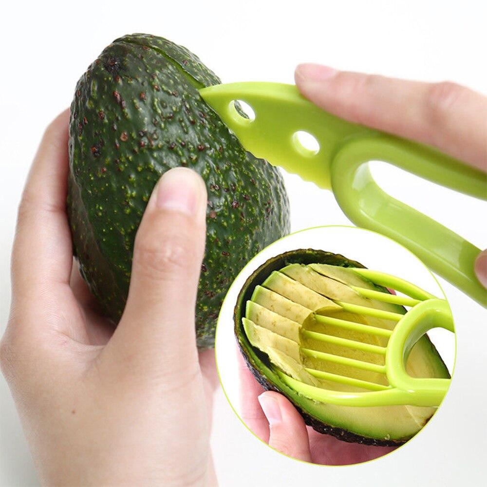Rebanadora de aguacate 3 en 1 pelador de centros de mantequilla pelador de fruta cortador separador de pulpa cuchillo de plástico utensilios para verdura Cocina