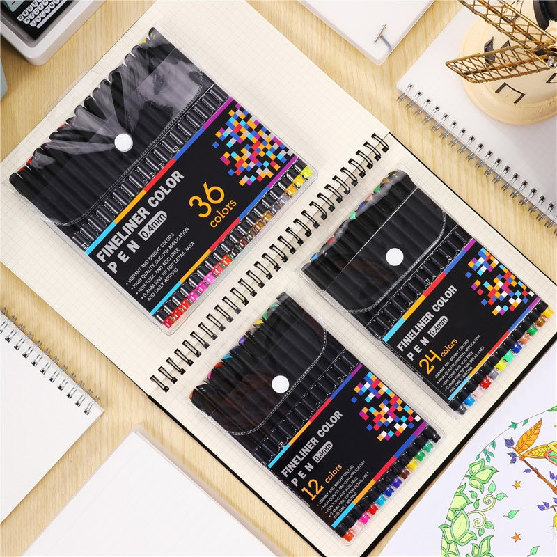 japanese pigma micron pen soft brush drawing pen sketch needle pen liner fineliner 005 01 02 03 04 05 08 1 0 brush art markers 0.4MM Fineliner Pen Set 12/24/36/48/ 60 Colors Micron Liner Marker Pen Color Drawing Sketch Art Fine Liner Pen Sets