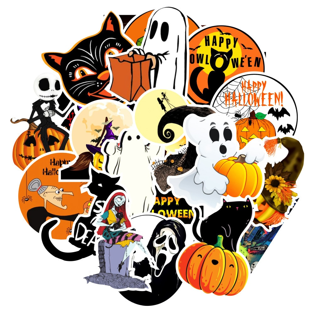 10/30/50pcs Halloween Horror Car Skateboard Stickers For Laptop Guitar Cans Waterproof Witch Sticker Space Pack Phone Motorcycle