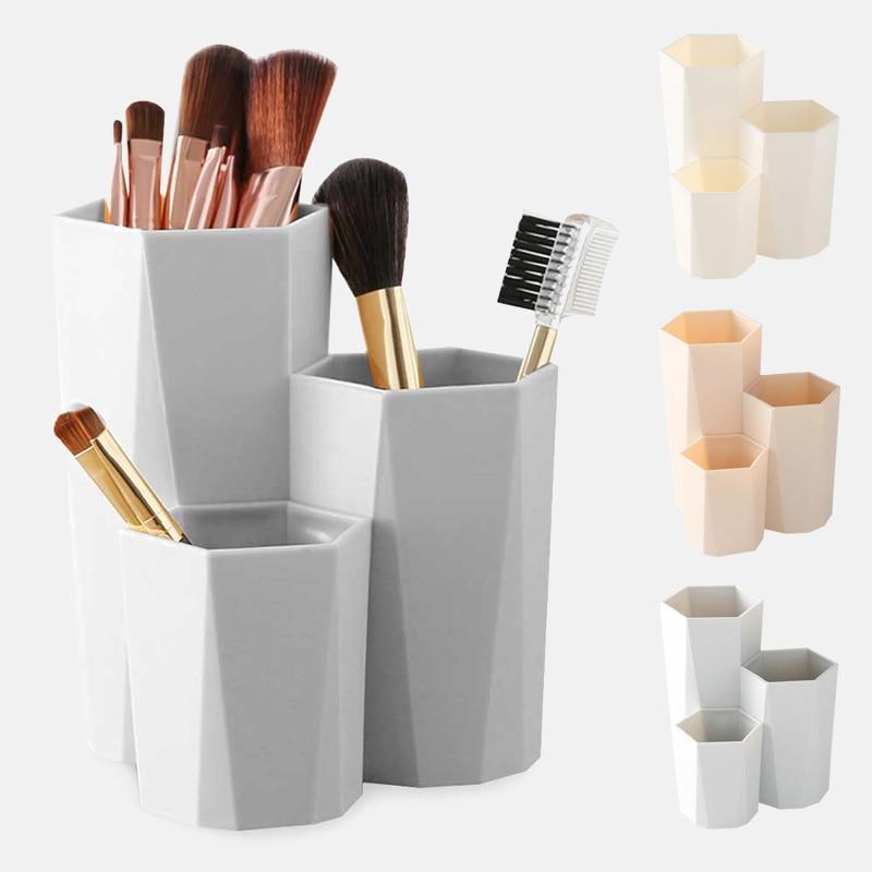 Cutie de depozitare pensule pentru machiaj cosmetic cu 3 rețele, - Organizarea și depozitarea în casă - Fotografie 3