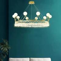 modern coroa de ouro led lustre para sala de jantar pendurado ouro lumin%c3%a1ria lustre cristal luzes led crystal luxurious fashion