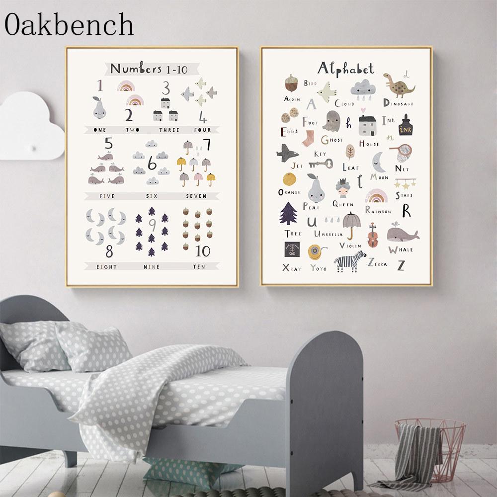 ABC animales alfabeto Poster para guardería cuadro sobre lienzo para pared educativo...
