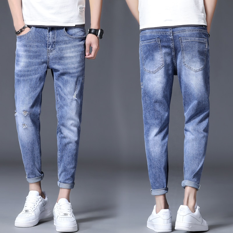 Jeans Ripped Jeans Men Pants Casual Brand Men's Daily Fashion Pants Slim Fit Jeans Male Street Skinn