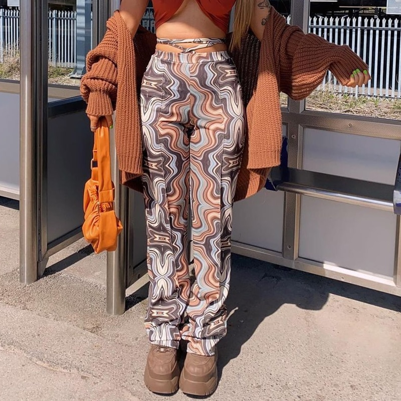 Paisley Printed Bandage Y2k Pants Women Fashion Chic 2021Summer Casual Long High Waist Trousers For Female Sweatpants Capris