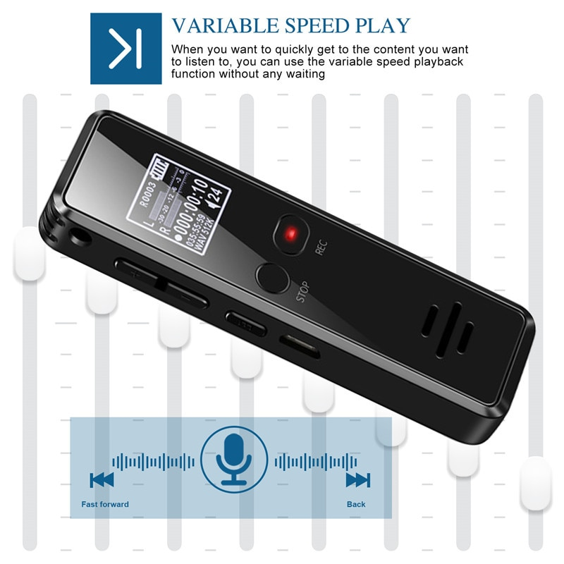 V90 Micro Digital Voice Activated Recorder Dictaphone Long Distance 8GB Audio Recording MP3 Player Noise Reduction WAV Record enlarge
