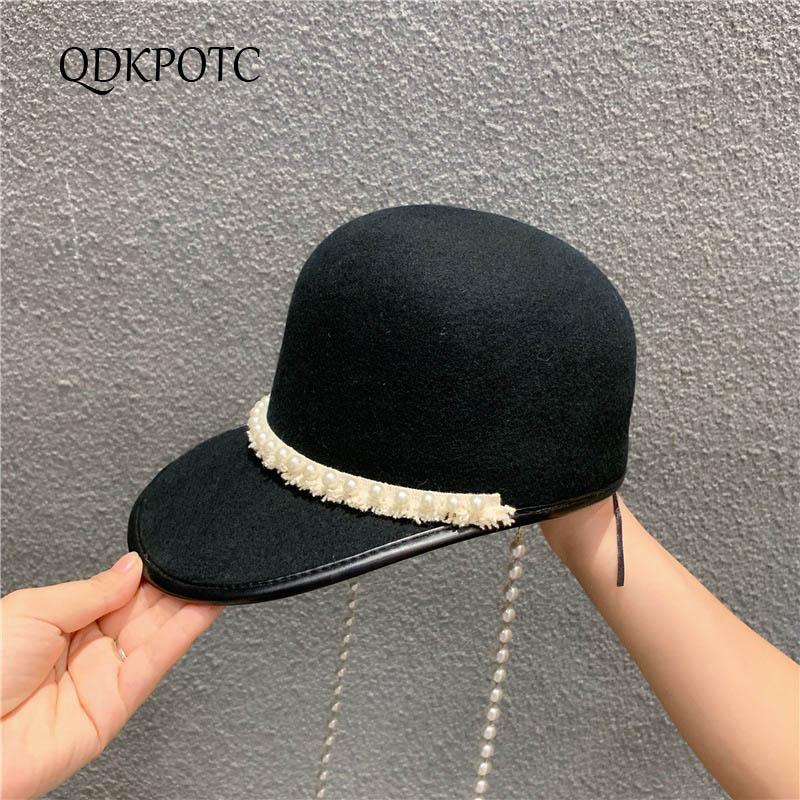 QDKPOTC 2019 nuevo Otoño Invierno mujeres 100% lana sombreros Inglaterra moda perlas cordones fieltro sombrero pequeño perfumado viento gorro ecuestre