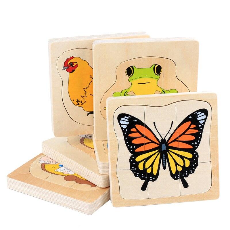 Rompecabezas Montessori, juguetes educativos de madera 3D, rompecabezas de madera de ciclo de vida de animales humanos, rompecabezas de plantas, juguetes para niños