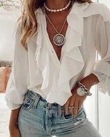 2020 women fashion elegant white ruffles casual v neck blouse shirts solid buttoned ruffles button design long sleeve top