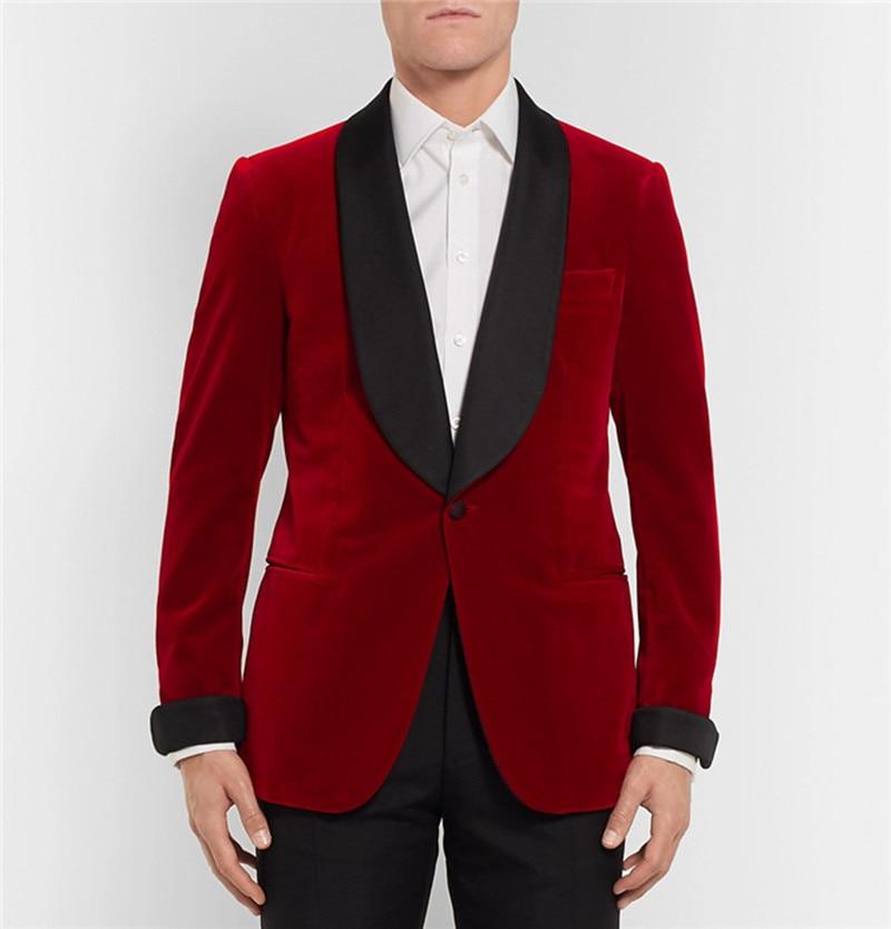 Handsome Velveteen Groomsmen Shawl Lapel Groom Tuxedos  Men Suits Wedding/Prom/Dinner Best Blazer(Jacket+Pants+Tie) 166