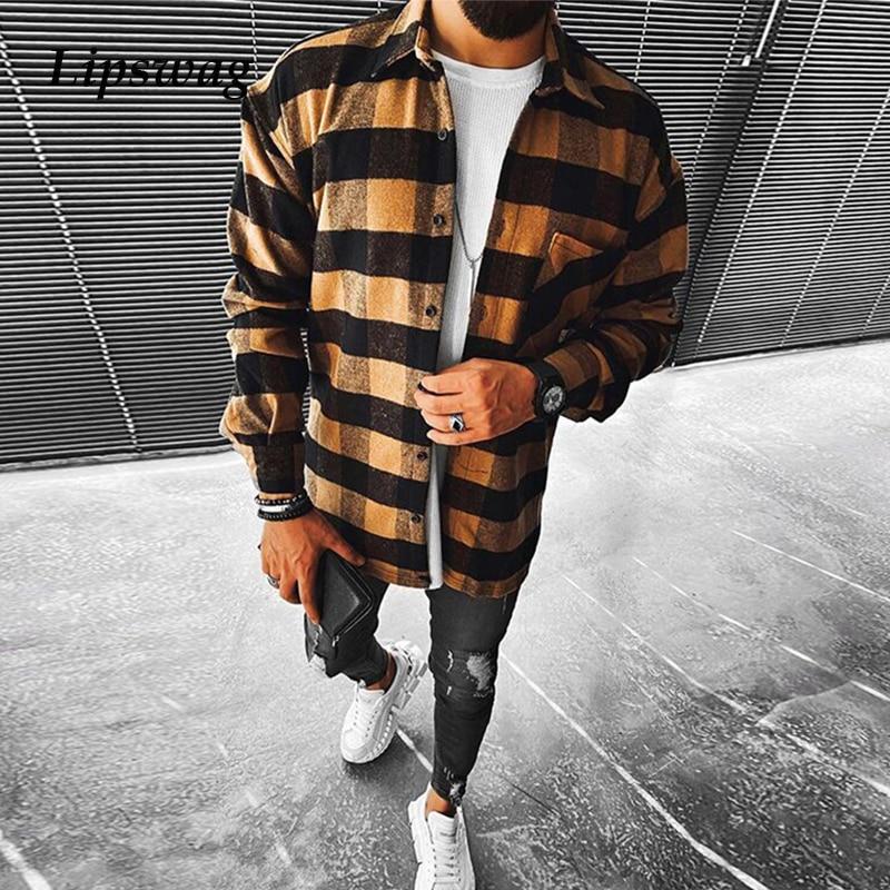 Moda manga longa xadrez camisas impressas para homem 2021 primavera casual turn-down colarinho botão camisa masculina plus size tops streetwear