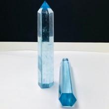 Hermosa varita de cuarzo de cristal de fusión azul, cristal transparente, Mineral curativo, decoración del hogar como regalo y piedra artesanal y Gema