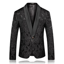 PYJTRL hommes mode noir Jacquard Rose Blazer coupe ajustée veste de costume