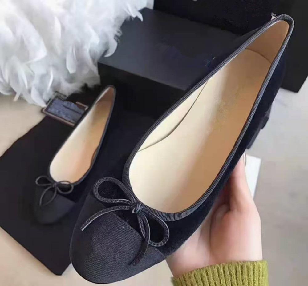 QueePaceWomen الأحذية جلد طبيعي حذاء راقصة البالية تنفس الساخن بيع أحذية جديدة أحذية خفيفة أنيقة للربيع كبير Size34-43