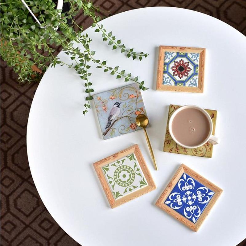Cutelife, posavasos Retro europeo, almohadilla aislante de cerámica, protección antidesgaste para escritorio, posavasos para azulejos, decoración y accesorios para mesa