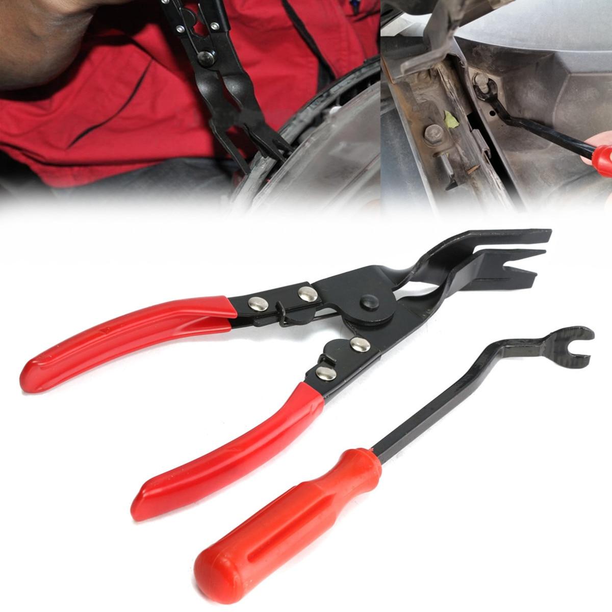2Pcs Car Clips Car Door Upholstery Remover & Trim Clip Removal Pliers Pry Bar Combo Pry Door Molding Dash Panel Rivet Tool