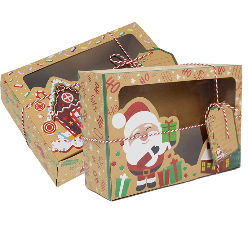 15 قطعة لتقوم بها بنفسك هدية الكريسماس صندوق مع بطاقة المعايدة سانتا ثلج صندوق ورقي للعام الجديد هدية التعبئة والتغليف نافيداد 2022 زينة