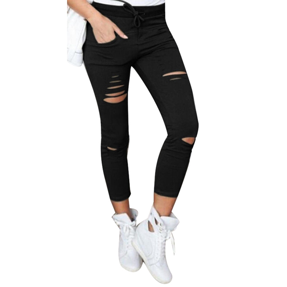 Women Ripped Pants High Waist Stretch Leggings Slim Pencil Trousers Summer Autumn Long Pants Solid Color Skinny Pants