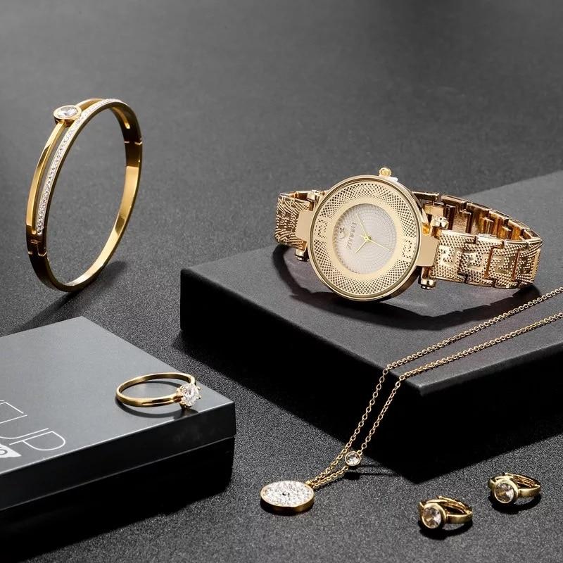 Mode femmes montres ensemble de luxe diamant boucles doreilles collier Bracelet anneau bijoux ensembles dames robe montre à Quartz pour les femmes