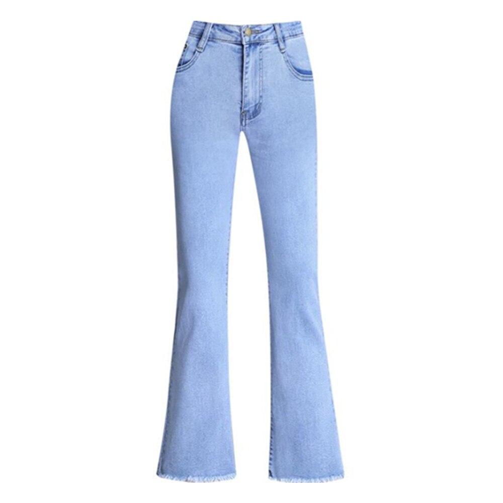 Белые джинсы, женские расклешенные брюки с высокой талией, облегающие джинсовые брюки до щиколотки, женские офисные синие джинсовые брюки с...