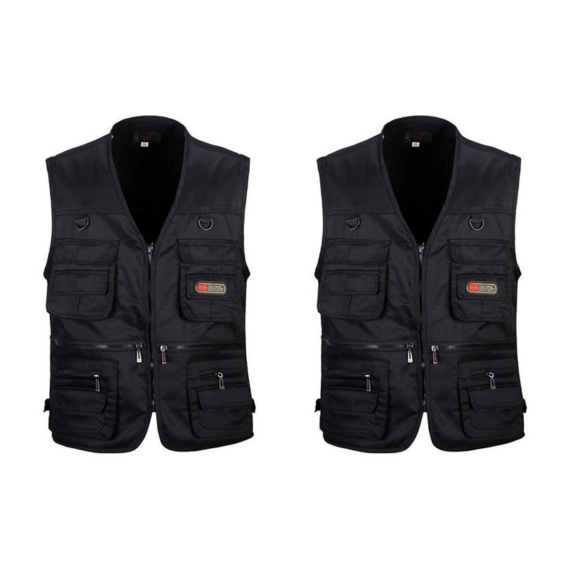 Hot YN-2 Pcs Men's Fishing Vest with Multi-Pocket Zip for Photography / Hunting / Travel Outdoor Spo