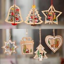 1Pcs Holz Weihnachten Dekoration Weihnachten Baum Anhänger 3D Verzierungen Hängen Hause Neue Jahr Party Kugel Dekoration