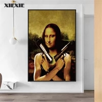 Peinture sur toile Vintage avec pistolet Mona Lisa  affiche creative de pistolet a deux pistolets  image imprimee dart mural pour decoration de salon de maison
