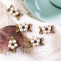 5pcslot alloy rhinestone gold pearls small hand pendant buttons ornaments jewelry earrings choker hair diy jewelry accessories