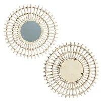 rattan innovative art decoration makeup mirror dressing bedroom bathroom wall mounted mirrors craft