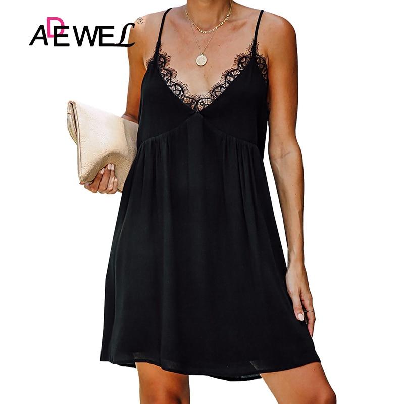 ADEWEL-vestido de muñeca con lazo para mujer, Sexy, negro y Beige, sin mangas, correa para hombro, para fiesta de noche, XL, 2019