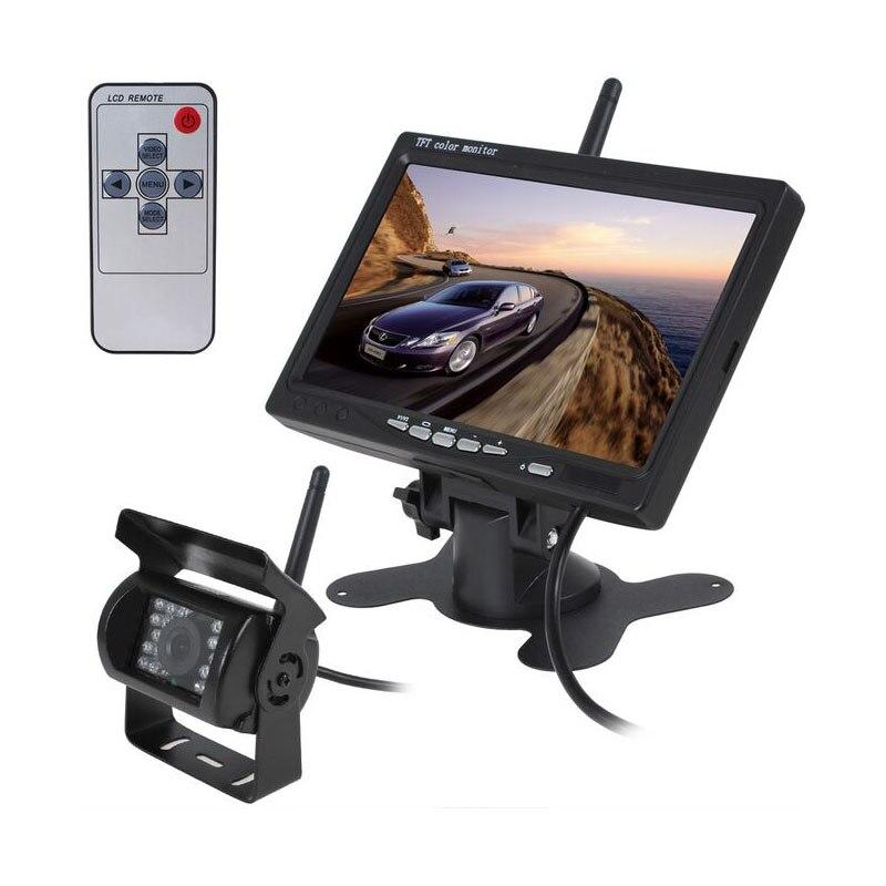XYCING 7 pulgadas 800x480 Color TFT LCD 2,4 GHz Monitor inalámbrico + inalámbrico 18 IR LED de visión nocturna Bus Cámara camión Cámara