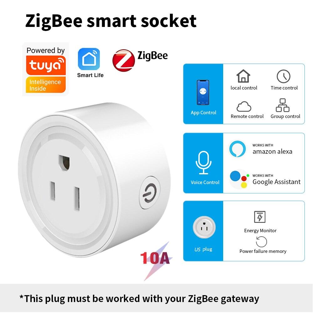 Tuya zigbee tomada inteligente eua plug para hub gateway, casa inteligente remoto sem fio app funciona com alexa casa do google, fazer casa mais inteligente