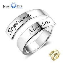 Cadeau personnalisé personnalisé gravé nom en acier inoxydable anneaux réglables pour les femmes bijoux danniversaire (bijouora RI102973)