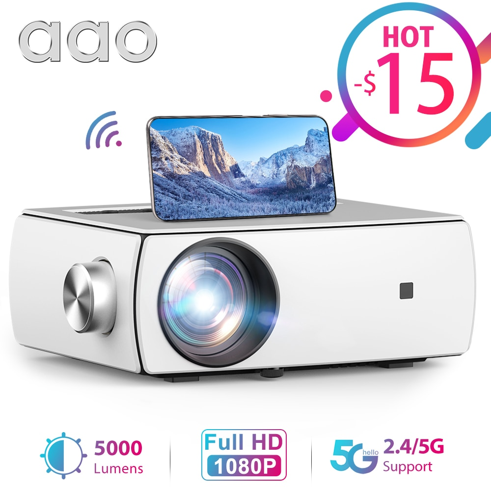 Review AAO Full HD Projector YG430 5G WiFi Smart Portable Mini Projector Native 1920 X 1080P Smartphone LED Video Home Cinema Beamer