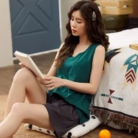 pajamas womens summer cotton sleeveless shorts two piece set summer pure color thin girls home clothes 21 1135