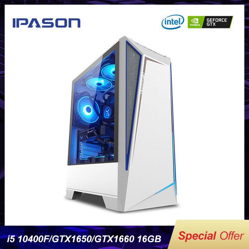 IPASON Battlefield S5 Desktop Computer 10th Gen i5 10400F/GTX1650/GTX1660 Desktop Assembly Machine Complete PC For Gta5/PUBG/LOL