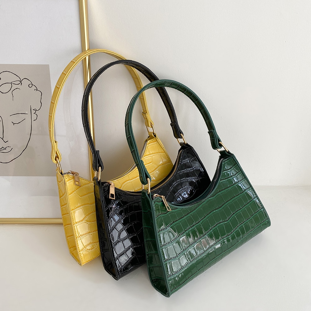 Retro Alligator Pattern Small Shoulder Bags For Women 2021 Casual  PU Leather Underarm Bags Female Handbags Bolsa Feminina