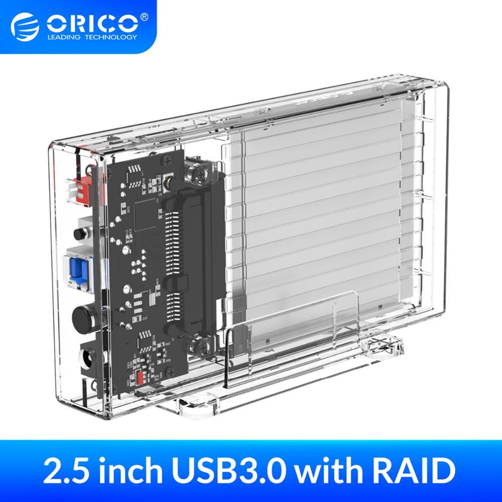 Корпус жесткого диска ORICO 2 Bay 2,5 дюйма с Raid SATA на USB 3,0, прозрачный корпус жесткого диска с поддержкой UASP для 7-9,5 мм HDD SSD 6 ТБ
