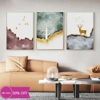 Toile de decoration de noel  peinture danimaux  affiches de cerf dore  oiseau  tableau dart mural pour decoration de salon  decoration de maison