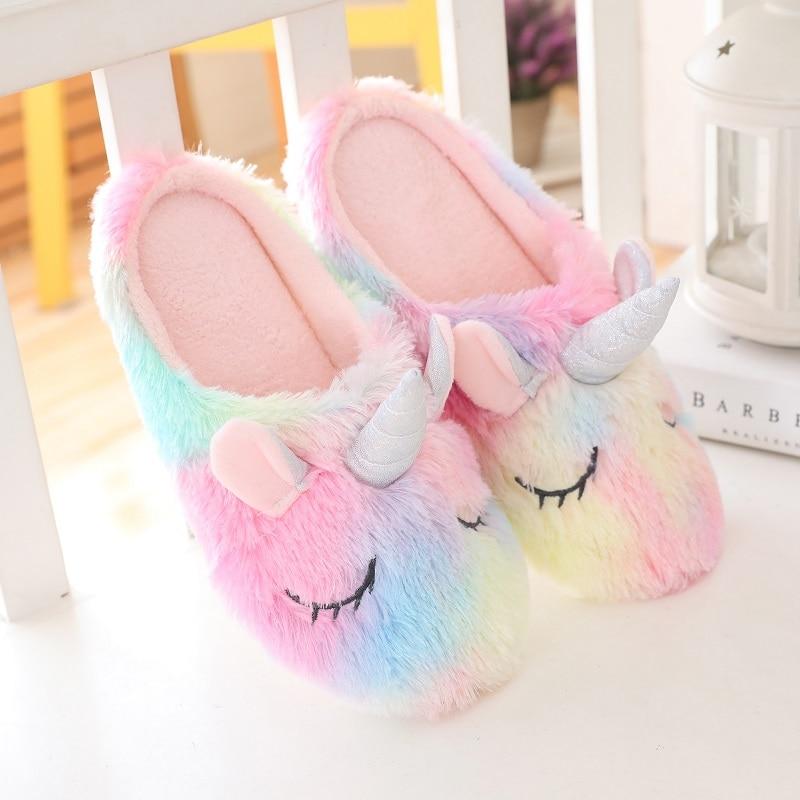 New Cute Unicorn Dog Hedgehog Plush Indoor Warm Winter Adult Stuffed Cartoon Lovely Shoes for Children Kids Girls Gift