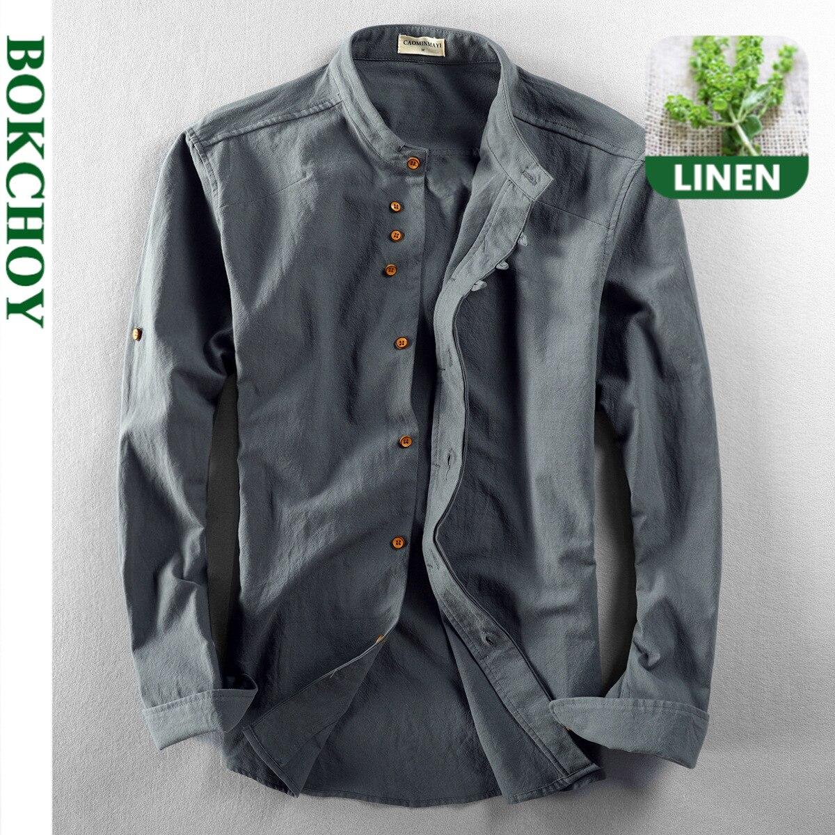 قميص من القطن والكتان على الطراز الصيني قميص طويل الأكمام للرجال زر طوق اليوسفي