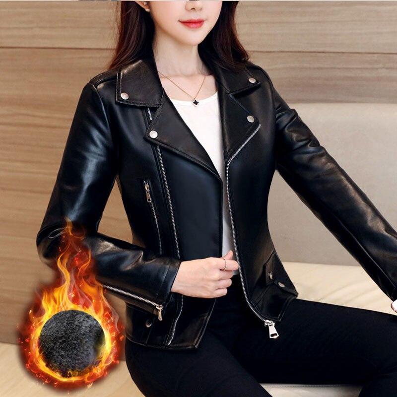 جديد الربيع النساء فو الجلود سترة السائق الإناث معطف أسود ترتيب طوق بولي Jackets جاكيتات السيدات فضفاضة الشارع الشهير ملابس خارجية H1131
