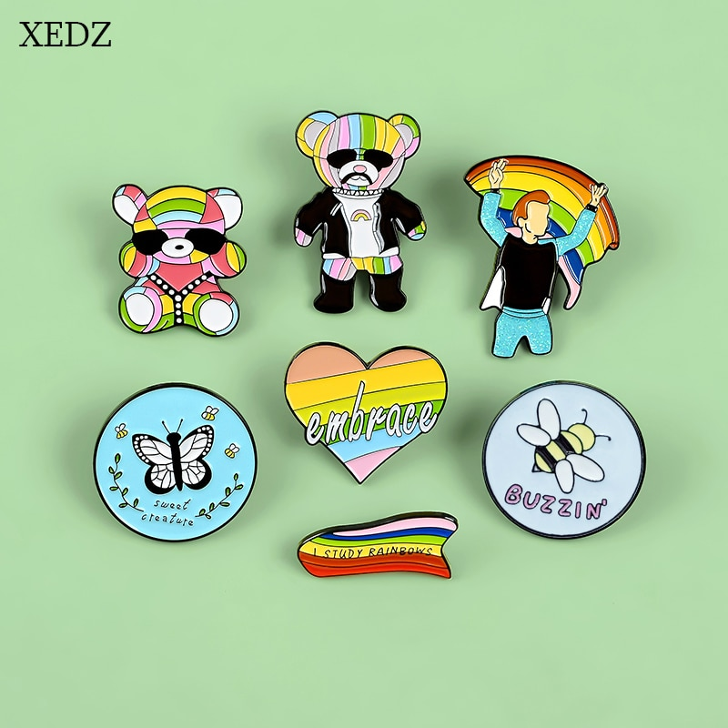 XEDZ enamel pin rainbow sunglasses baby uncle love cape boy flag butterfly bee cartoon animal badge shirt lapel brooch jewelry  - buy with discount
