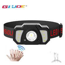 GIJOE Powerful Mini USB Rechargeable LED Headlamp Body Motion Sensor Headlight Camping Flashlight Head Light Torch Lamp Camping