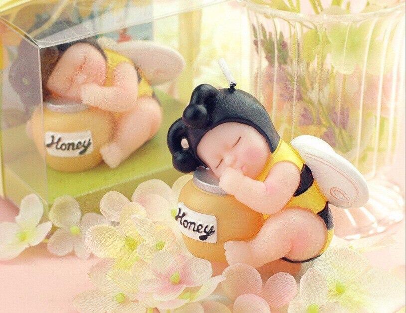 10 قطعة العسل النحل الطفل شمعة الزفاف استحمام الطفل هدايا تذكارية عيد لصالح تعبئتها مع صندوق