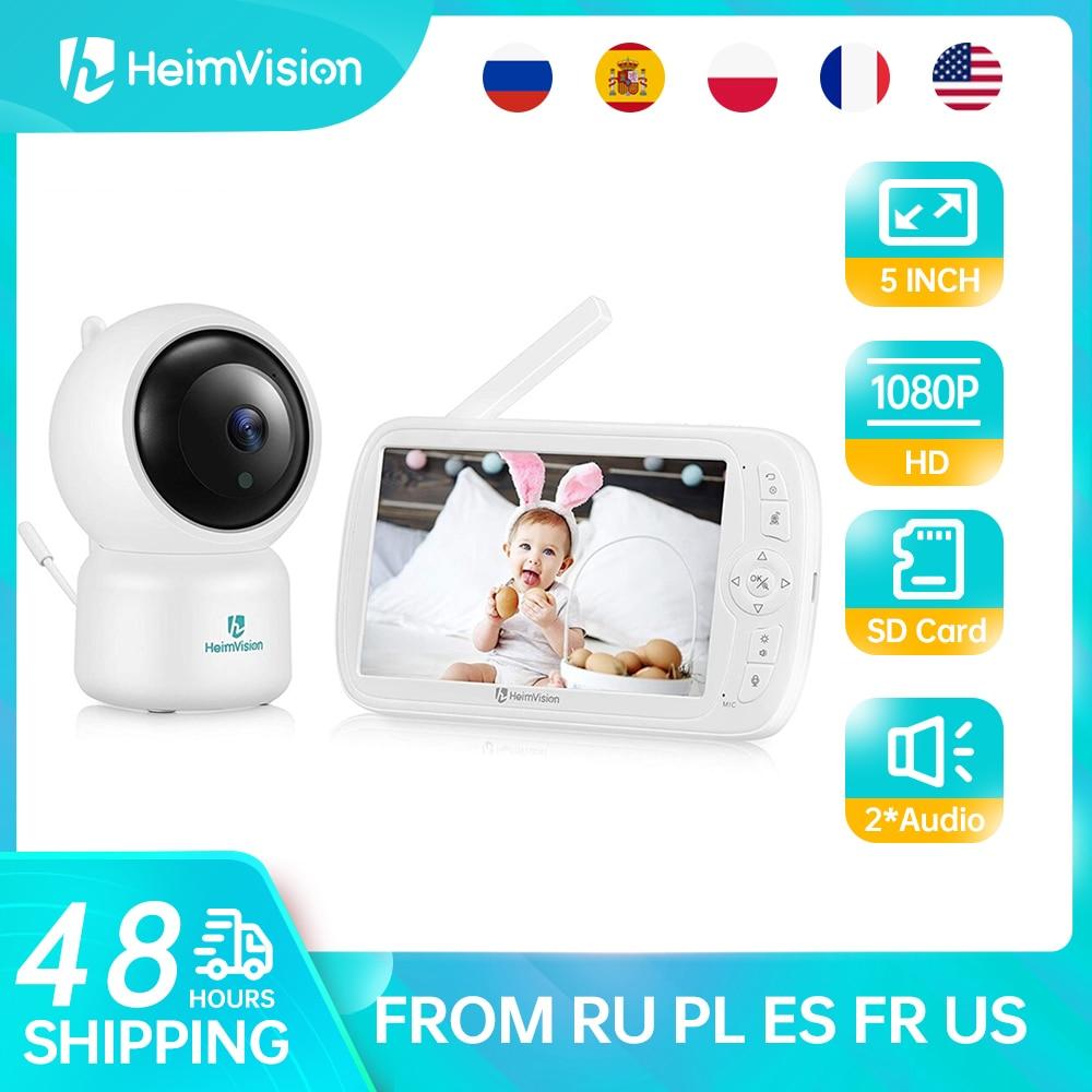 HeimVision تهدئة 3 1080P مراقبة الطفل مع كاميرا 5.0 بوصة شاشة للرؤية الليلية PTZ التكبير 2 طريقة الصوت VOX تهويدة SD بطاقة سجل