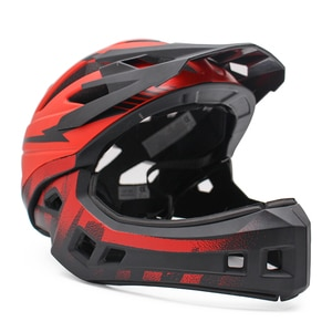 Red Children Adult Cycling Helmet Full Face OFF-ROAD DH Mountain MTB Bike Helmet with Visor Child Kids Downhill Bicycle Helmets