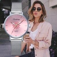 Часы для женщин роскошный цвета: золотистый, серебристый популярный розовый циферблат, украшенные цветами и металлическими деталями женск...
