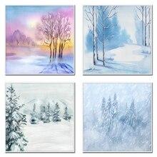 Laeacco toile peintures hiver neige paysage lever du soleil pin forêt imprimé et affiche chambre salon décor mur Art